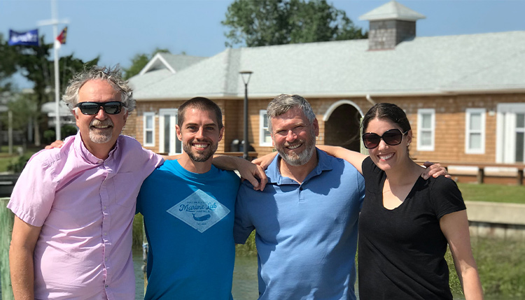 Faculty Members who designed the Scholars in Marine Medicine program at the Duke Marine Lab, L to R: Meagan Dunphy-Daly, Andy Read, Jason Somarelli, and Tom Schultz.