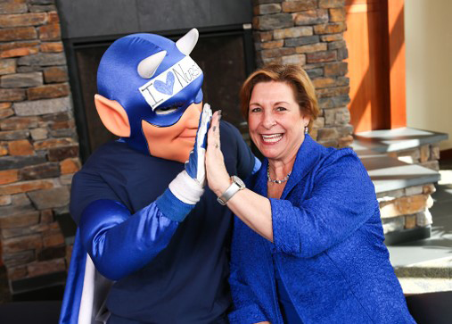 Duke Nursing Alumni Council member with Duke Blue Devil mascot