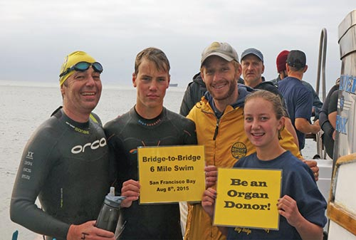 Maitland's children, Zander and Riley, hold signs after the Bridge-to-Bridge six-mile swim in San Francisco Bay, 2015