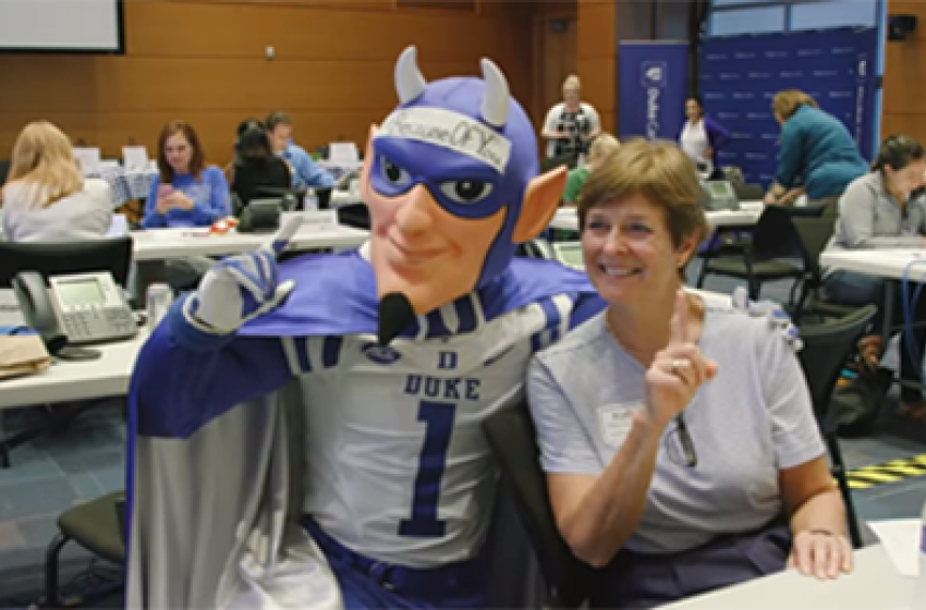 Duke Blue Devil mascot and volunteer