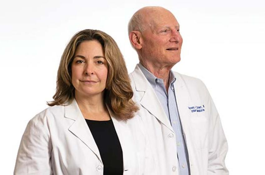 Heather Whitson, MD, HS'01-'04 and Harvey Cohen, MD, HS'65-'67, '69-'71